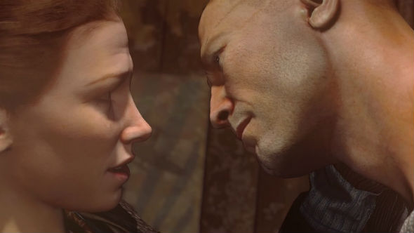 Wolfenstein: The New Order Anya and BJ embrace