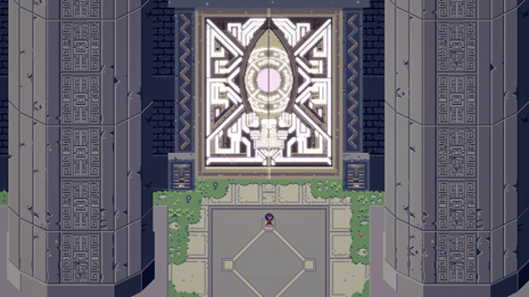 A top-down view of a character in Titan Souls entering a scary chamber through massive doors.