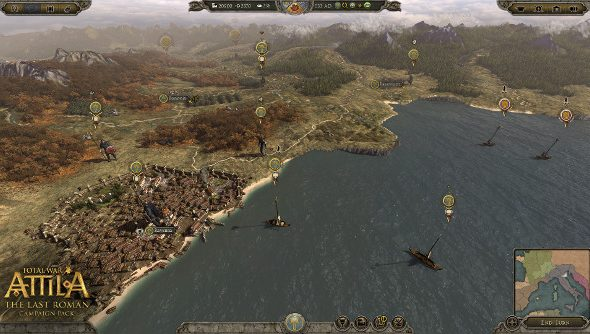 Byzantine ships arrive on the coast of Italy in The Last Roman