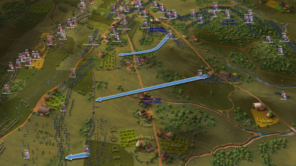 A wide-angle view of the fighting in Ultimate General: Gettysburg.