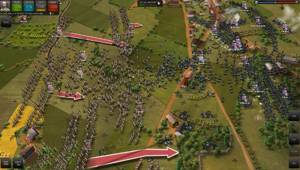 Heavy combat takes place on the colorful map of Ultimate General: Gettysburg.