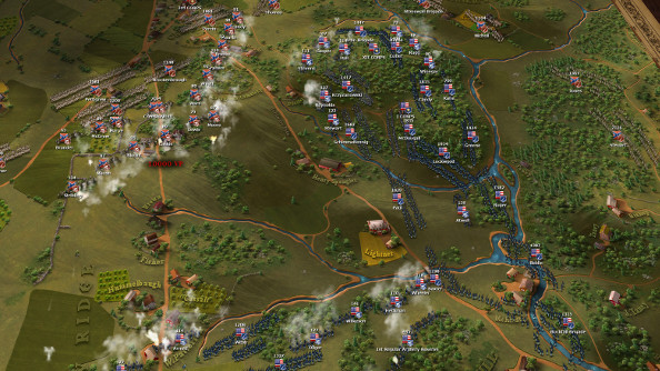 Blue coated Union forces face a victorious rebel army arrayed on the hills outside of Gettysburg.