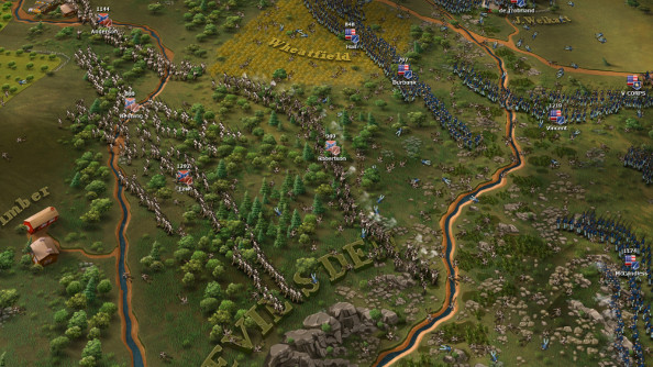 A zoomed-in view of the Battle at Devil's Den.