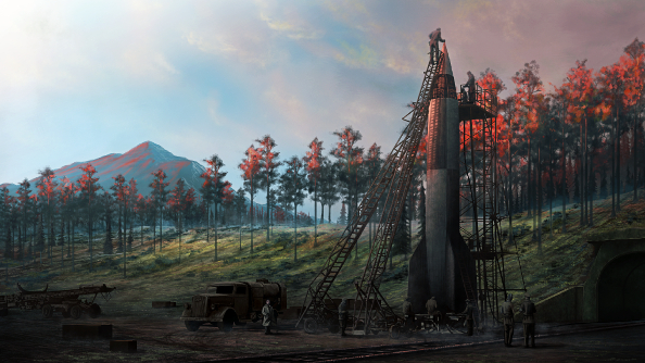 A V2 rocket stands on a gantry in a forest tinted red by a setting sun while technicians service it.