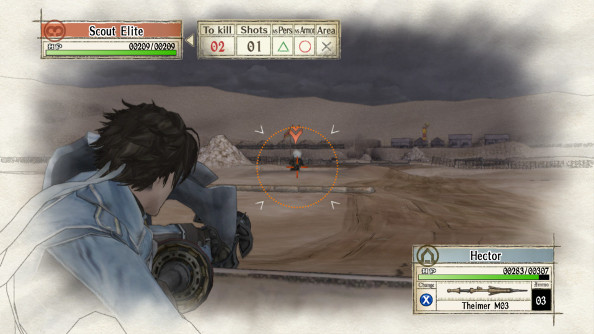 A blue-gray soldier takes aim in the desert against a stormy sky, with a town in the distance.