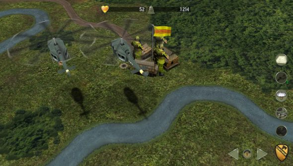 A pair of US helicopters fly past a hexagonal village filled with tiny animated soldiers.