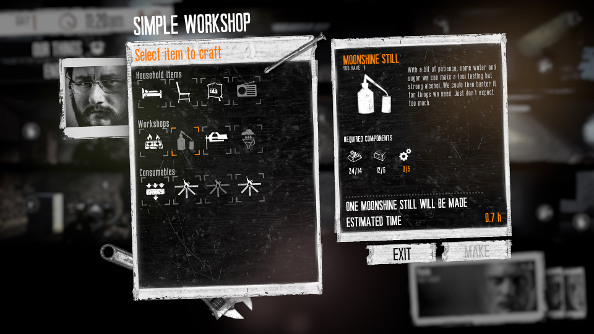 The inventory screen in This War of Mine.