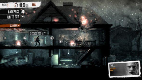 A dark, desaturated urban ruin in This War of Mine.