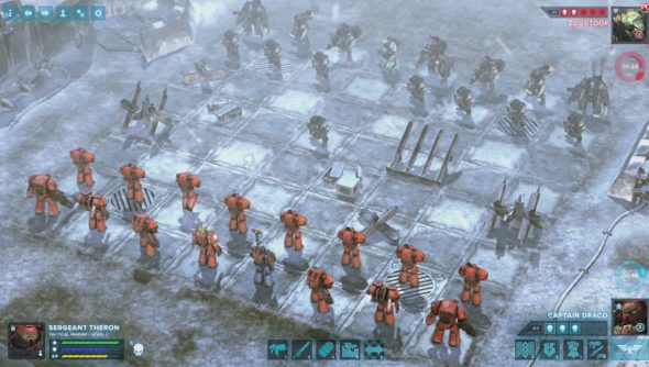 Orks and Space Marines on a stylized chessboard in Regicide.