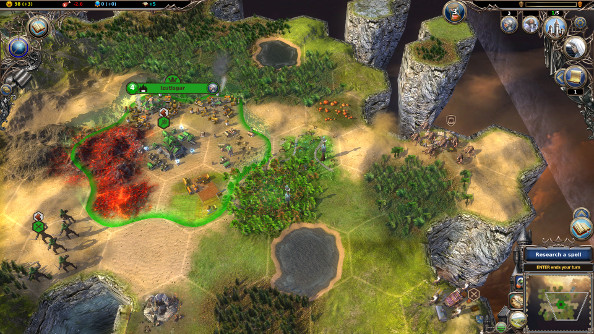 Small bands of troops do battle across a desert savannah.