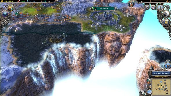 A city stands on a floating island divided into a hexagonal grid, while a nearby lake tips over the edge into a beautiful waterfall.