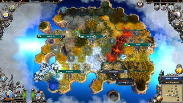 A zoomed-out overhead perspective of a growing fantasy city with shaded borders and sprawling buildings across the hex grid.