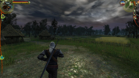 Silver-haired Geralt jogs through an idyllic farm field beneath a stormy sky.