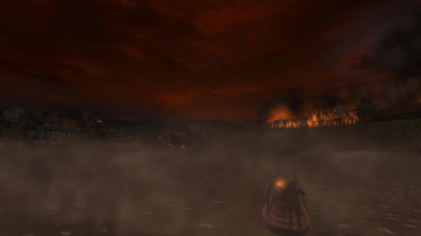 The Witcher being ferried across a lake to a burning medieval capital, against a red sky covered in black smoke.