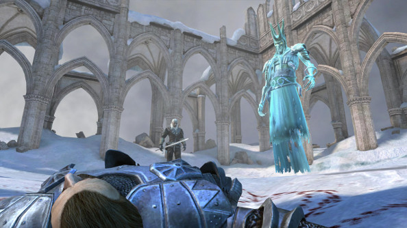 The Witcher and the King of the Wild Hunt regard a fallen foe in a snowy ruin.