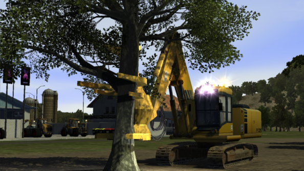 Woodcutter Simulator 2013 trailer shows chainsaw used responsibly, screenshots include tree-grabbing colossus