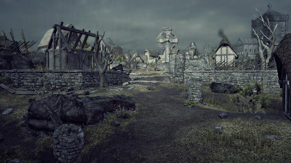 A decaying English village with crumbling stone buildings and a prominent Celtic cross stands beneath a steel-gray sky.