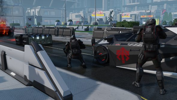 Advent troops fighting in XCOM 2