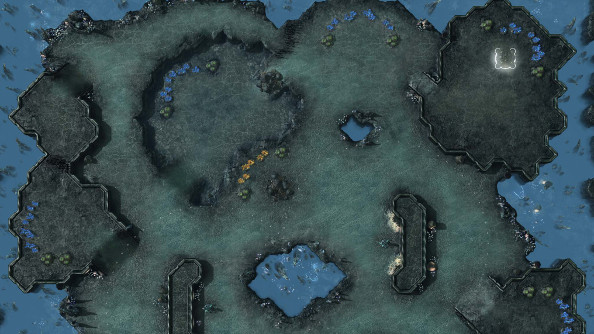 View of Xel'Naga Caverns in the SC2 map editor.