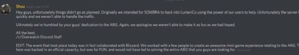 The admin message, which has since been deleted