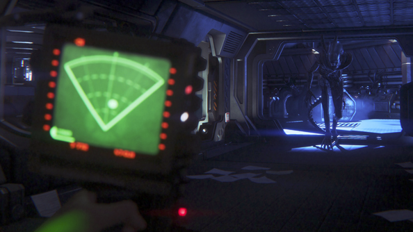 Motion tracker flashing as the Alien appears at the end of a hall
