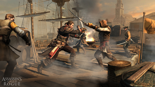 Assassin's Creed: Rogue casts players adrift as a Templar on a boat in the North Atlantic