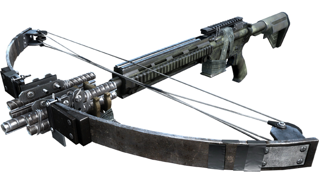 Battlefield 3: Aftermath's crossbow, as seen from uncomfortably close; two minutes of gameplay footage for Premium players