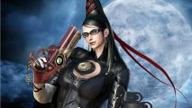 This lady is Bayonetta - a witch with access to firearms.