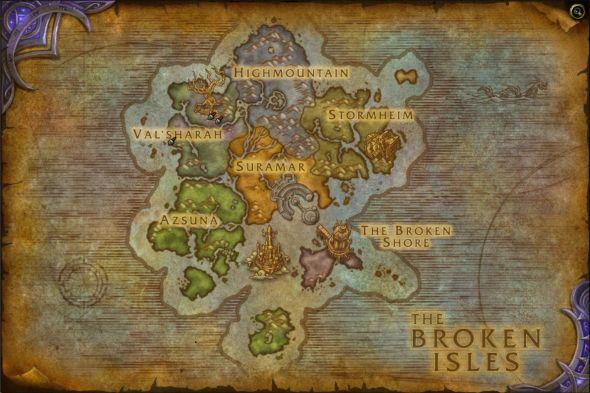 WoW: Legion Broken Isles map