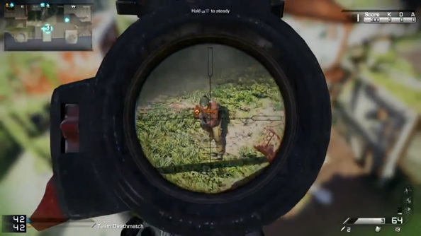 Call of Duty: Ghosts, as viewed down a barrel.