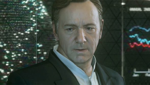 In Call of Duty: Advanced Warfare, Spacey leads a Soldier of Fortune group, whatever one of those is.