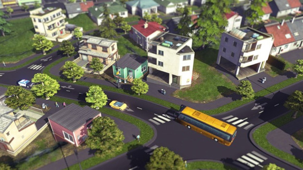 In Cities: Skylines, the player is situated in the sky - so you are more likely to see train lines.