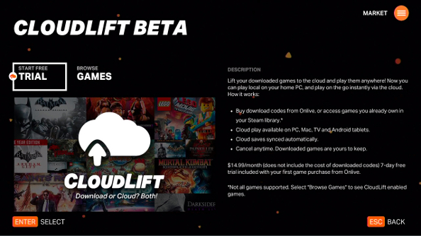 OnLive reveals CloudLift: pick up where you left off using your Steam cloud saves