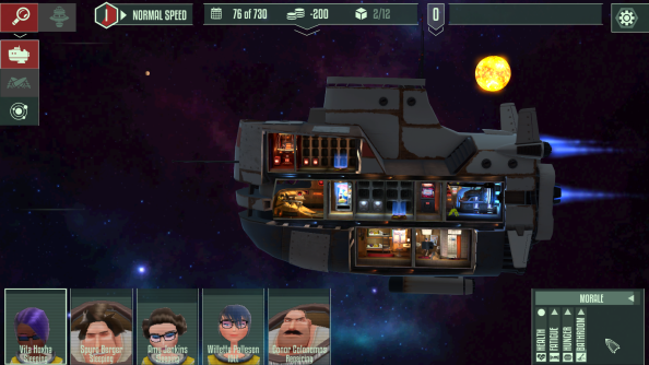 Captain a washed-up space cruiser in cartoon management game Cosmo-Nautica