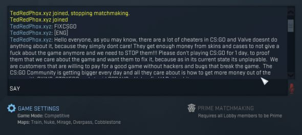 CS:GO hacker uses exploit to spam messages complaining about hackers