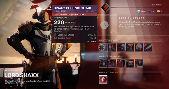 You can buy most faction gear directly, and equip ornaments on most sets