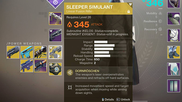 destiny 2 sleeper simulant stats