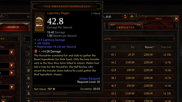 Bottom falls out of Diablo 3 burger market as auction house prices tumble by 91%