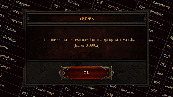 List of banned Diablo 3 character names includes Oprah, Fart, Speculum