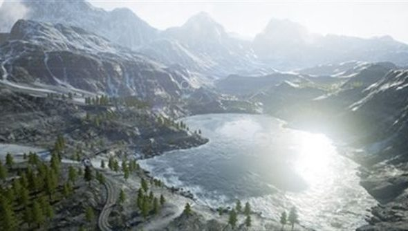 The Unreal Landscape Mountains demo. Shiny.