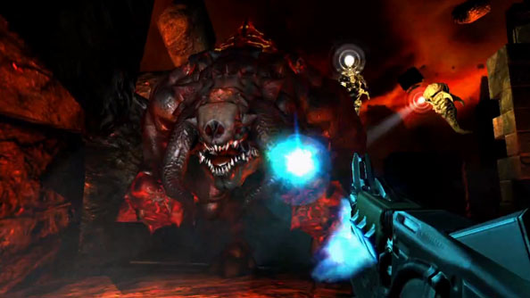 Doom 3: BFG Edition launch trailer is not for viewers who dislike big monsters, big guns, and big fonts