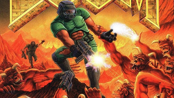 Doomguy from the original Doom cover is actually a shirtless John Romero