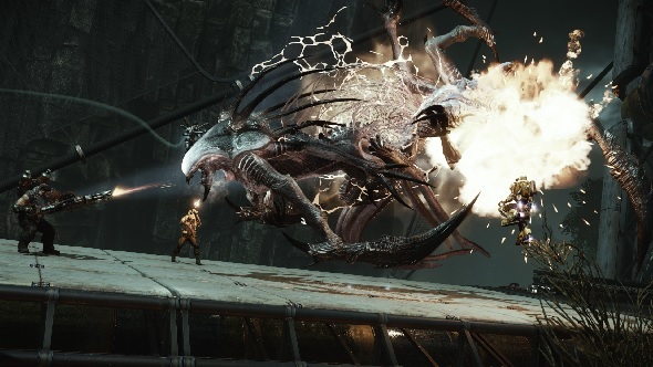 Hunters tackle a Wraith in Evolve
