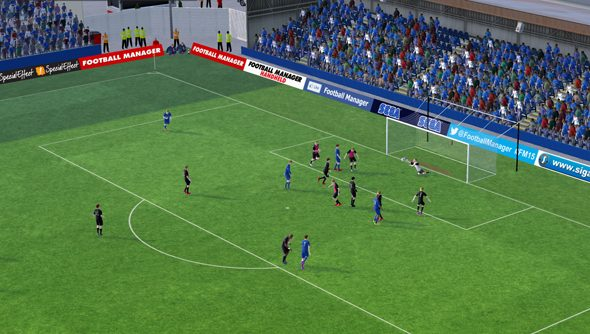 Football Manager 2015 lights up a match.