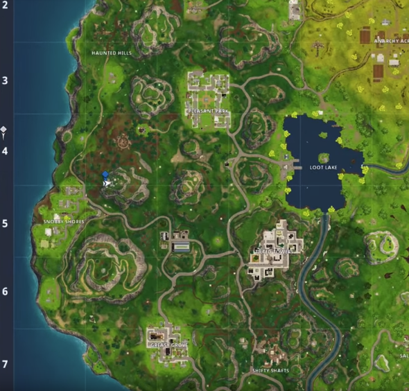 fortnite week 5 challenges greasy grove treasure map
