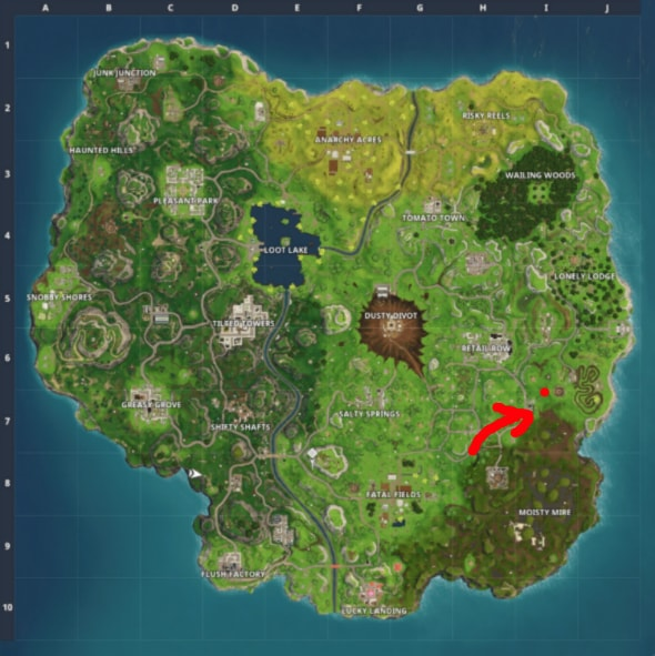 fortnite week 8 challenges search between a bear, crater, and a refrigerator shipment