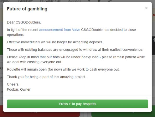 CSGODouble gambling statement
