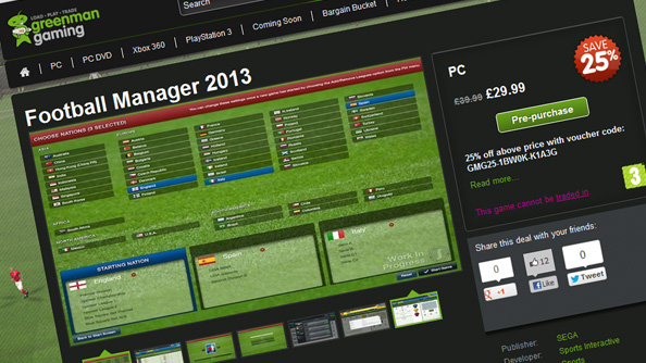 Green Man Gaming double-discounts Football Manager 2013 pre-orders