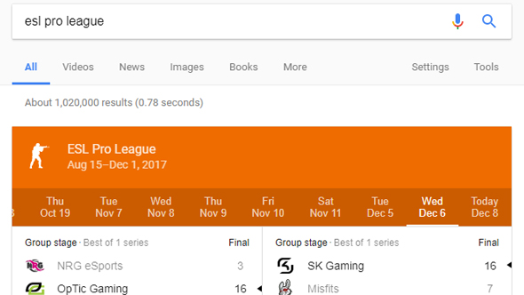 google esports results youtube