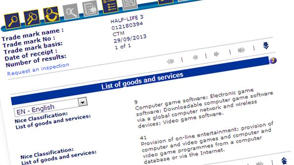 Half Life 3 Valve trademark